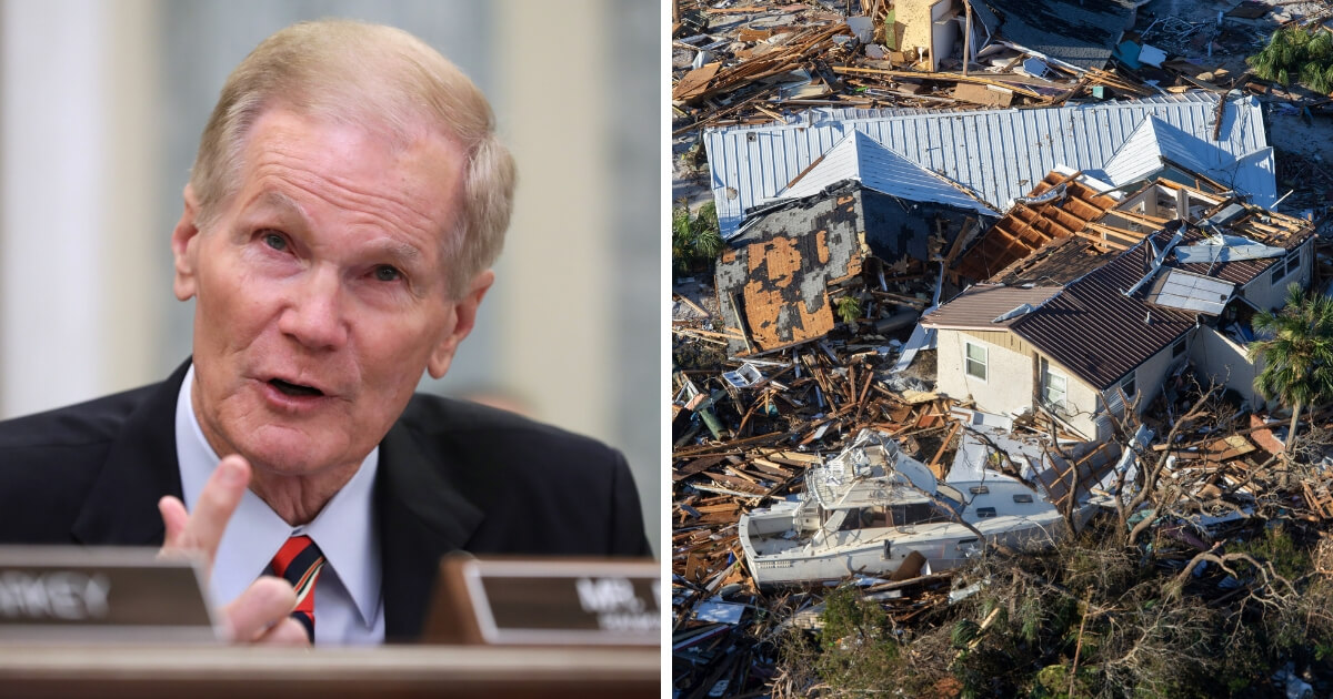 Democratic Senator Bill Nelson from Florida (left) and damage from Hurricane Michael in Mexico Beach, FL (right)