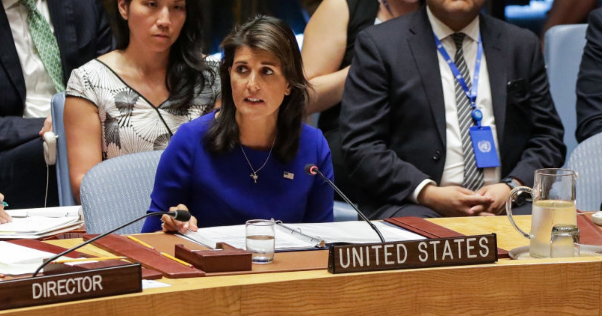 U.N. Ambassador Nikki Haley addresses the UN Security Council in August. She is resigning as U.N. ambassador at the end of the year.