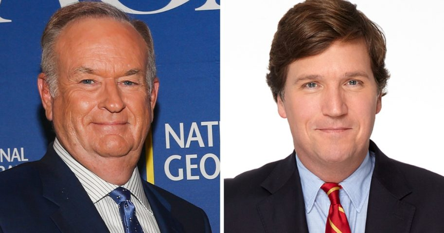 Former Fox News host Bill O'Reilly, left, and his replacement, Tucker Carlson, right, are Nos. 1 and 2 on The New York Times bestsellers list.