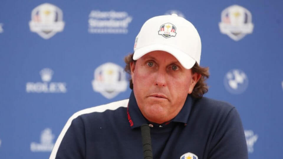Phil Mickelson speaks at a press conference during the recent Ryder Cup event in France.