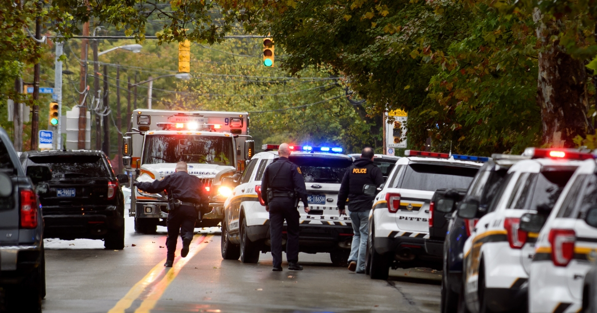 the site of a mass shooting at the Tree of Life Synagogue in the Squirrel Hill