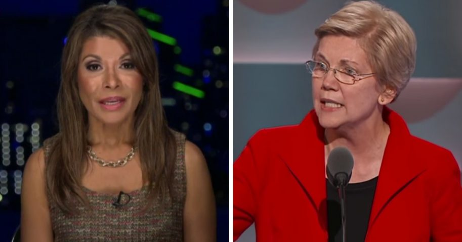 """Debbie White Dove Porreco, left, a descendant of the famed 17th-century Powhatan princess Pocahontas, spoke out against Sen. Elizabeth Warren, right, and her DNA test results Tuesday on Fox News' """"Tucker Carlson Tonight."""""""