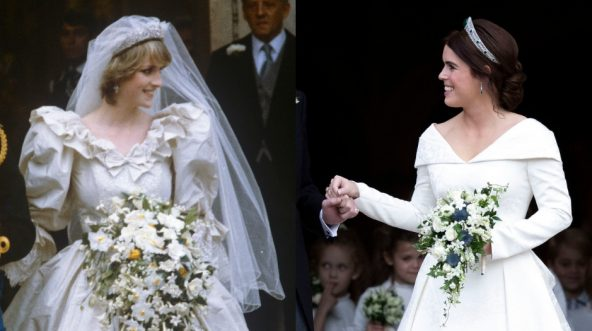 Princess Diana on her wedding day, left, and Princess Eugenie, right.