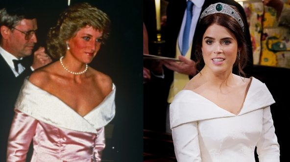 Princess Diana, left, and Princess Eugenie, right.