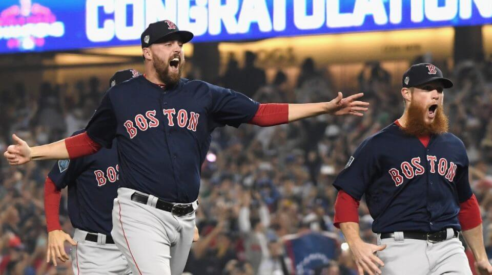 Heath Hembree, left, and Craig Kimbrel of the Boston Red Sox celebrate defeating the Los Angeles Dodgers 5-1 in Game 5 of the World Series on Sunday at Dodger Stadium.