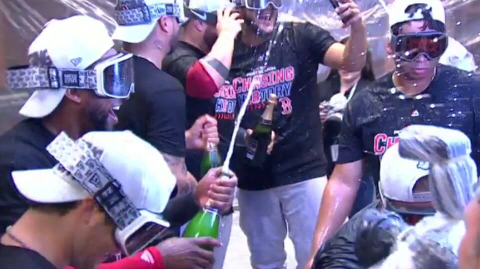 Red Sox players celebrate their series-clinching win Tuesday over the New York Yankees in the ALDS.