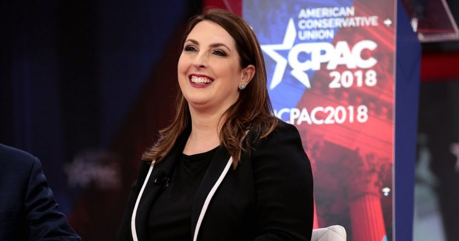 RNC Chairwoman Ronna McDaniel speaking at the 2018 Conservative Political Action Conference.