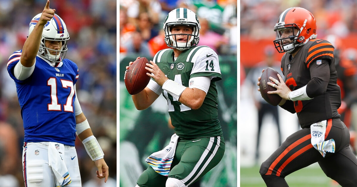 From left, the Bills' Josh Allen, the Jets' Sam Darnold and the Browns' Baker Mayfield.
