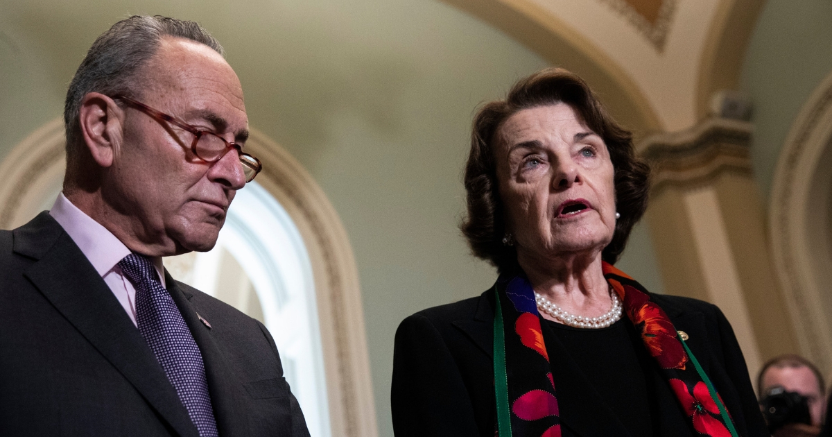 Senate Minority Leader Chuck Schumer, D-N.Y., and Senate Judiciary Committee ranking member Dianne Feinstein, D-Calif., hold a news conference Thursday to discuss the FBI report on Supreme Court nominee Brett Kavanaugh.