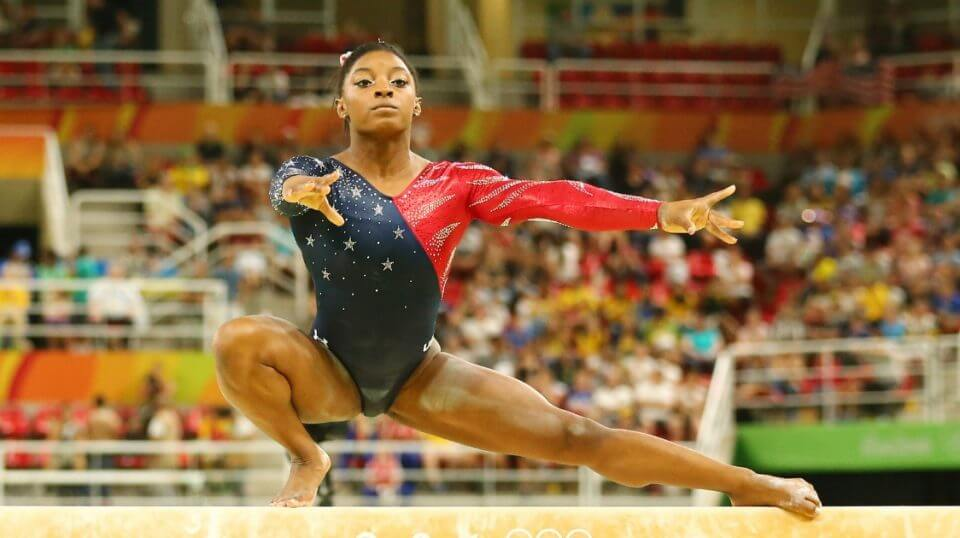 Simone Biles during balance beam competition at the 2016 Olympics.