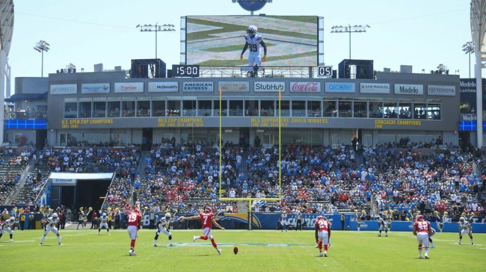 Harrison Butker of the Kansas City Chiefs kicks off against the Los Angeles Chargers at StubHub Center in Carson, California, on Sept. 9.