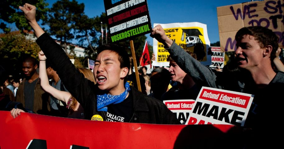 University of California, Berkeley students protesting in solidarity with the Occupy Wall Street movement Nov. 15, 2011, in Berkeley, California.