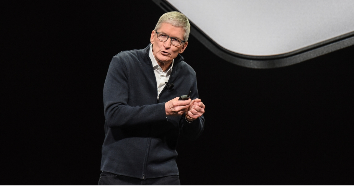 Tim Cook, CEO of Apple, unveils new products during an Apple launch event at the Brooklyn Academy of Music in New York on Tuesday.