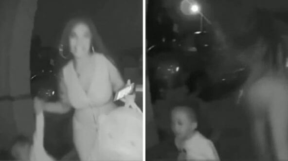 A woman drops off a 2-year-old boy at a stranger's doorstep in Spring, Texas.