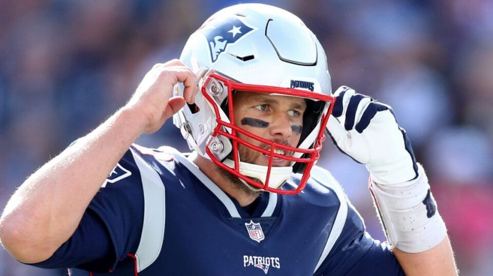 Tom Brady of the New England Patriots calls a play during a game against the Miami Dolphins at Gillette Stadium on Sept. 30.