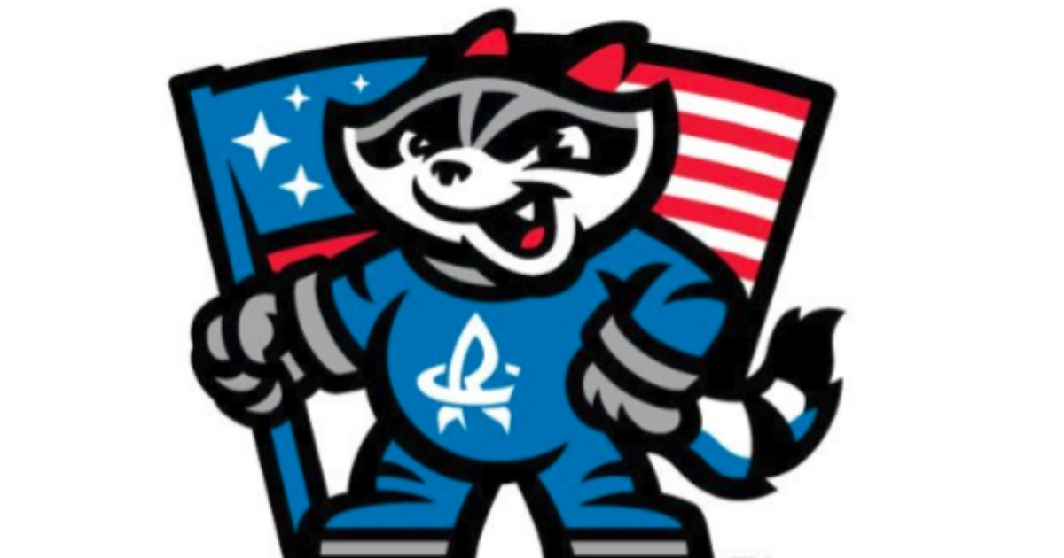 One version of the logo for the Rocket City Trash Pandas features an American flag.
