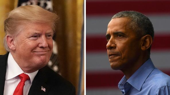 President Donald Trump, left, and former President Barack Obama, right.