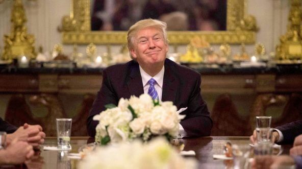 US President Donald Trump during a reception with Congressional leaders at the White House