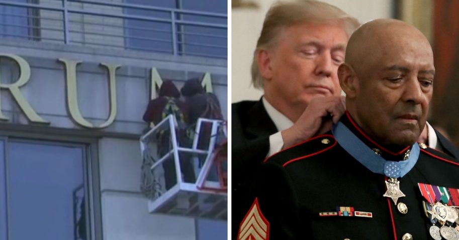 Trump name removed from building / President Donald Trump presents the Medal of Honor to retired Marine Sgt. Major John L. Canley.
