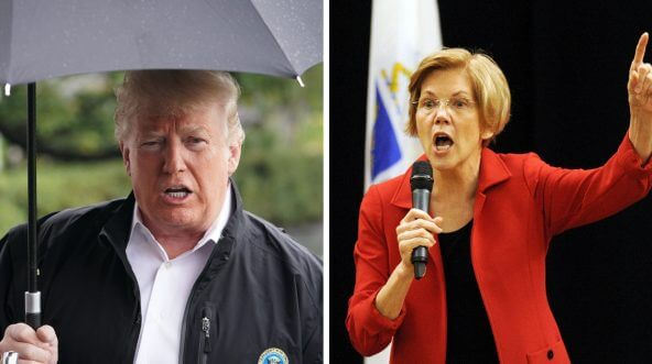 President Donald Trump (left) and Sen. Elizabeth Warren (right)