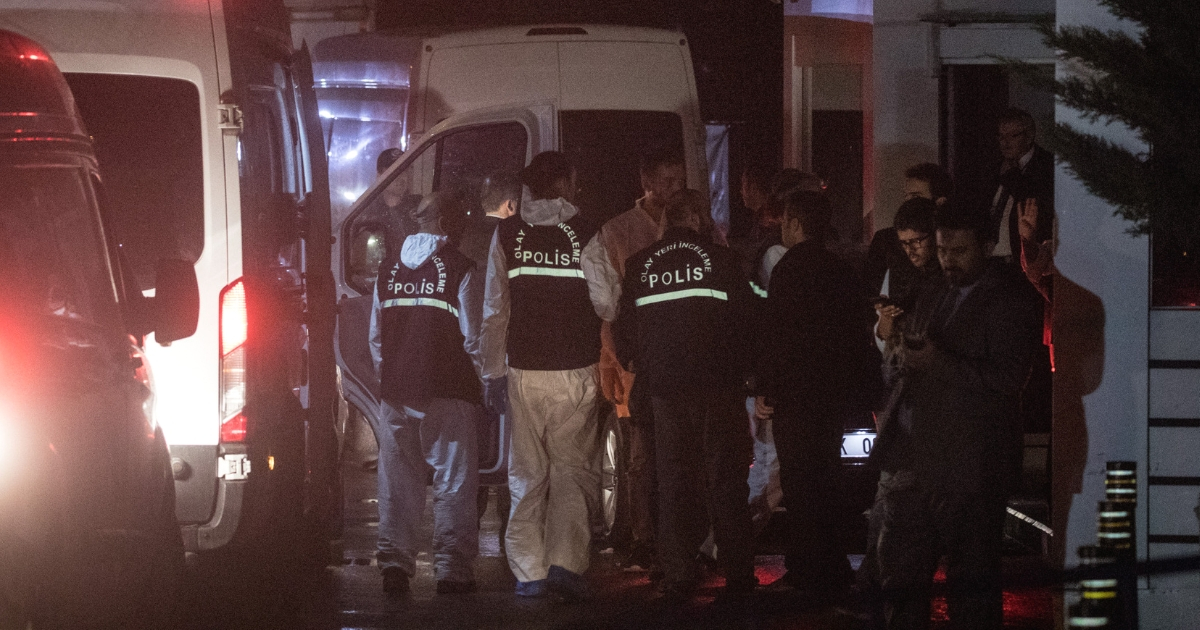 Turkish forensic police pack up after searching the Saudi Arabian consulate general residence as investigations continue into the disappearance of journalist Jamal Khashoggi on Oct. 17, 2018, in Istanbul, Turkey.