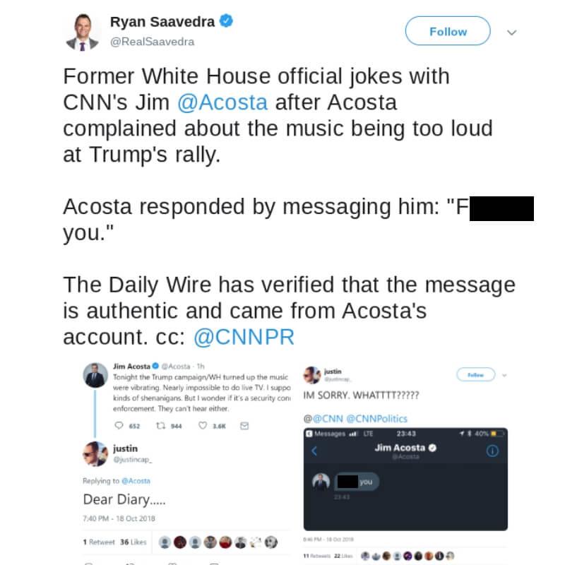 Screen shot of a Twitter exchange.
