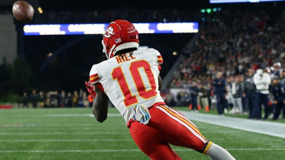 Kansas City's Tyreke Hill with one of his three touchdown receptions -- all in the second half -- in a 43-40 loss Sunday at New England.