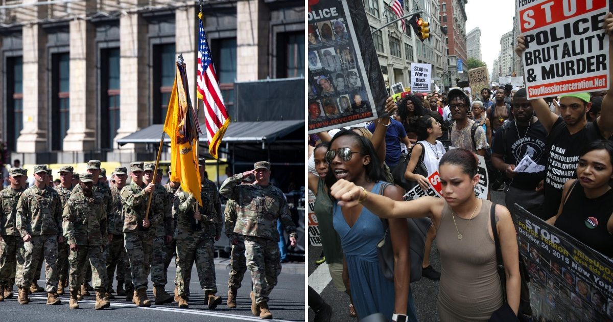 U.S. Army servicemembers march during a military parade and activists rallying to protest recent police-involved shootings in Minnesota & Louisiana