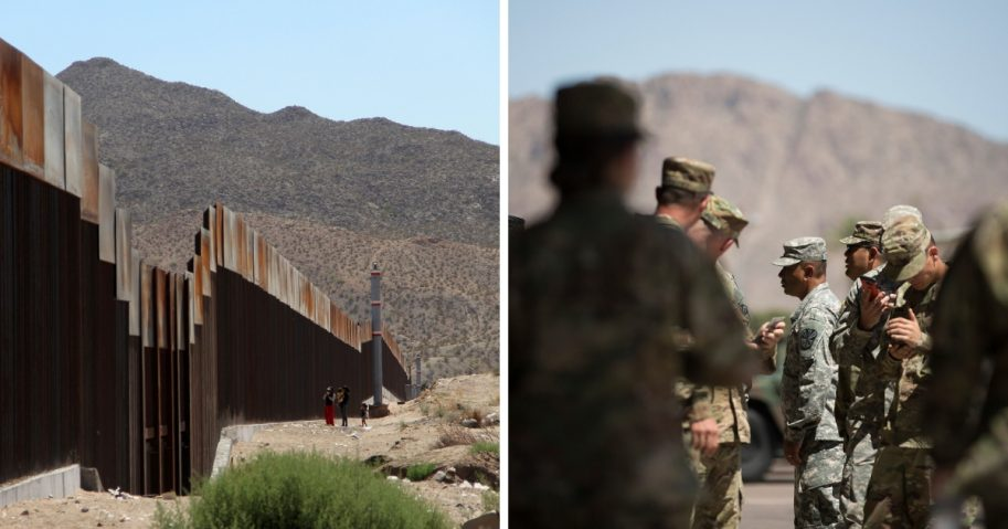 US Mexico border and US troops deployed to the border