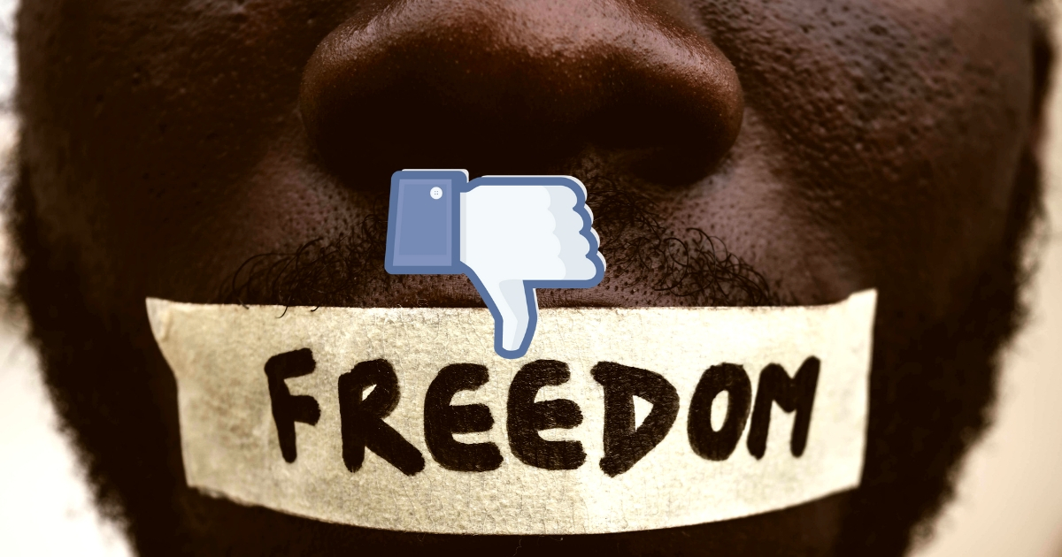 "Young man censored with masking tape over his mouth, on which is written ""freedom,"" with a Facebook thumbs down overlaid."