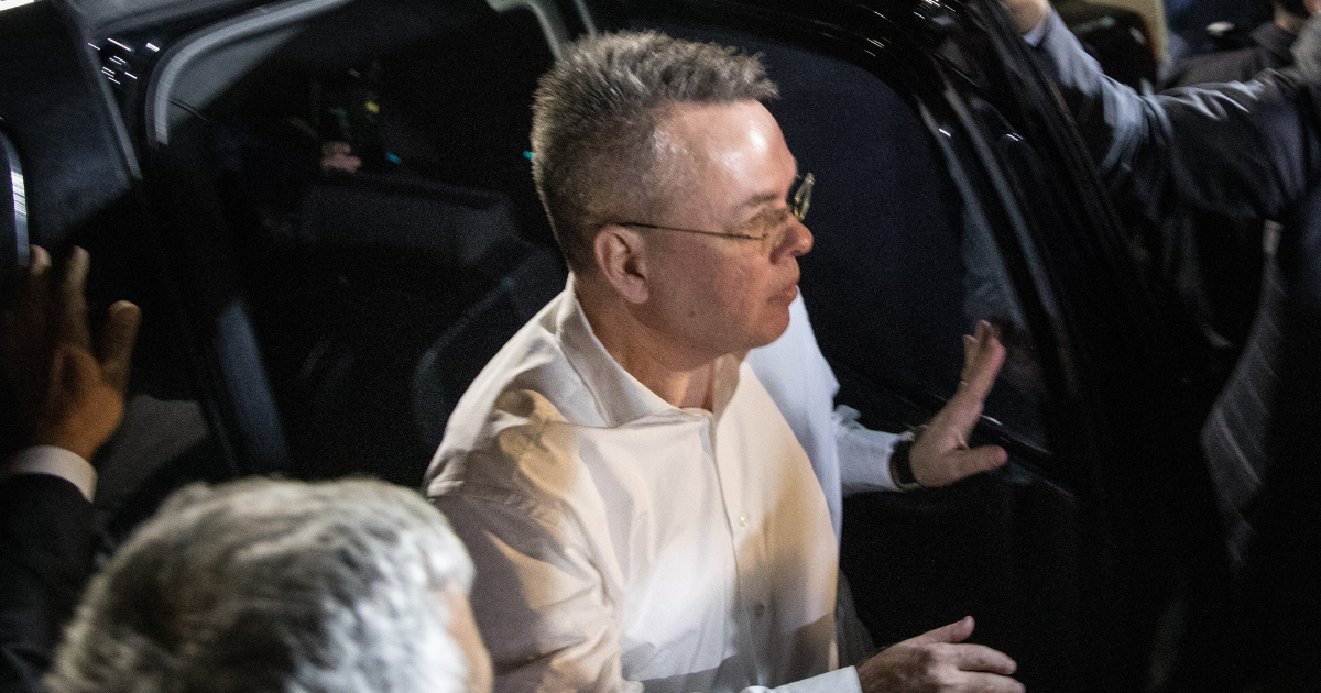 American pastor Andrew Brunson arrives at the Izmir International Airport CIP terminal to depart Turkey on October 12, 2018 in Izmir, Turkey
