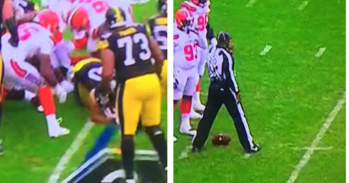 Even though James Connor was tackled at the Cleveland 5-yard line, officials spotted the ball at the 3-yard line in Sunday's game.