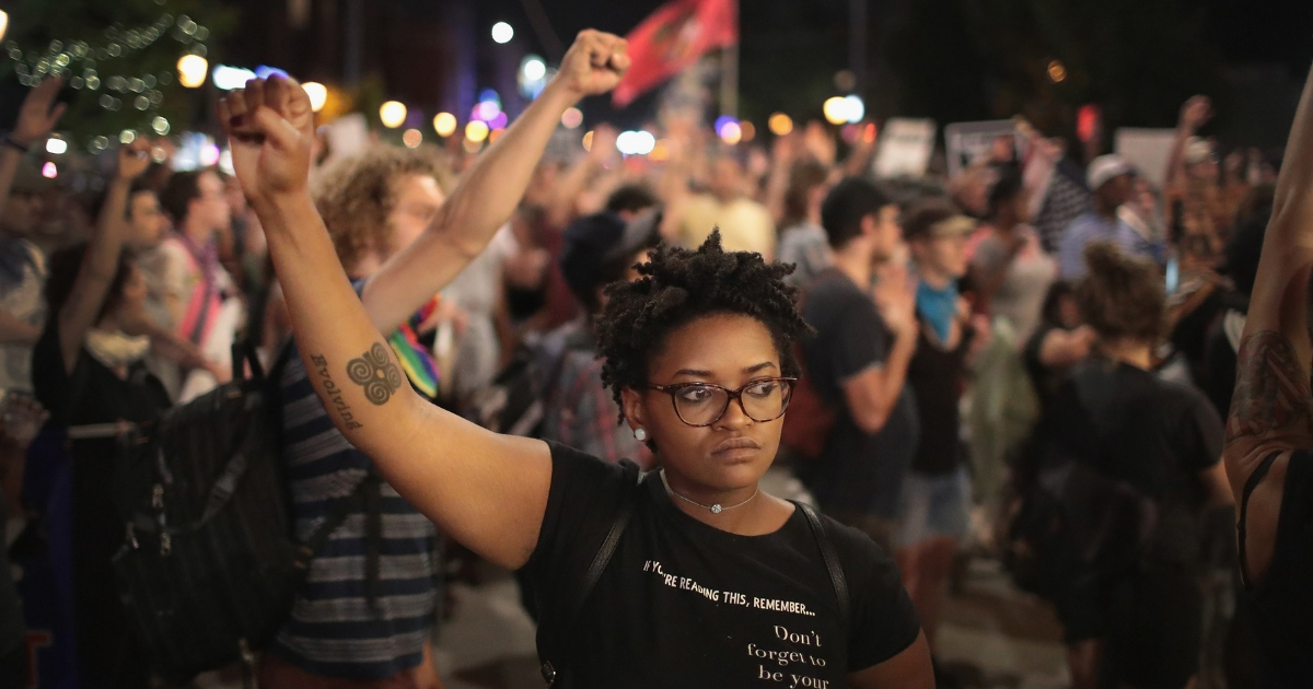 Demonstrators protesting