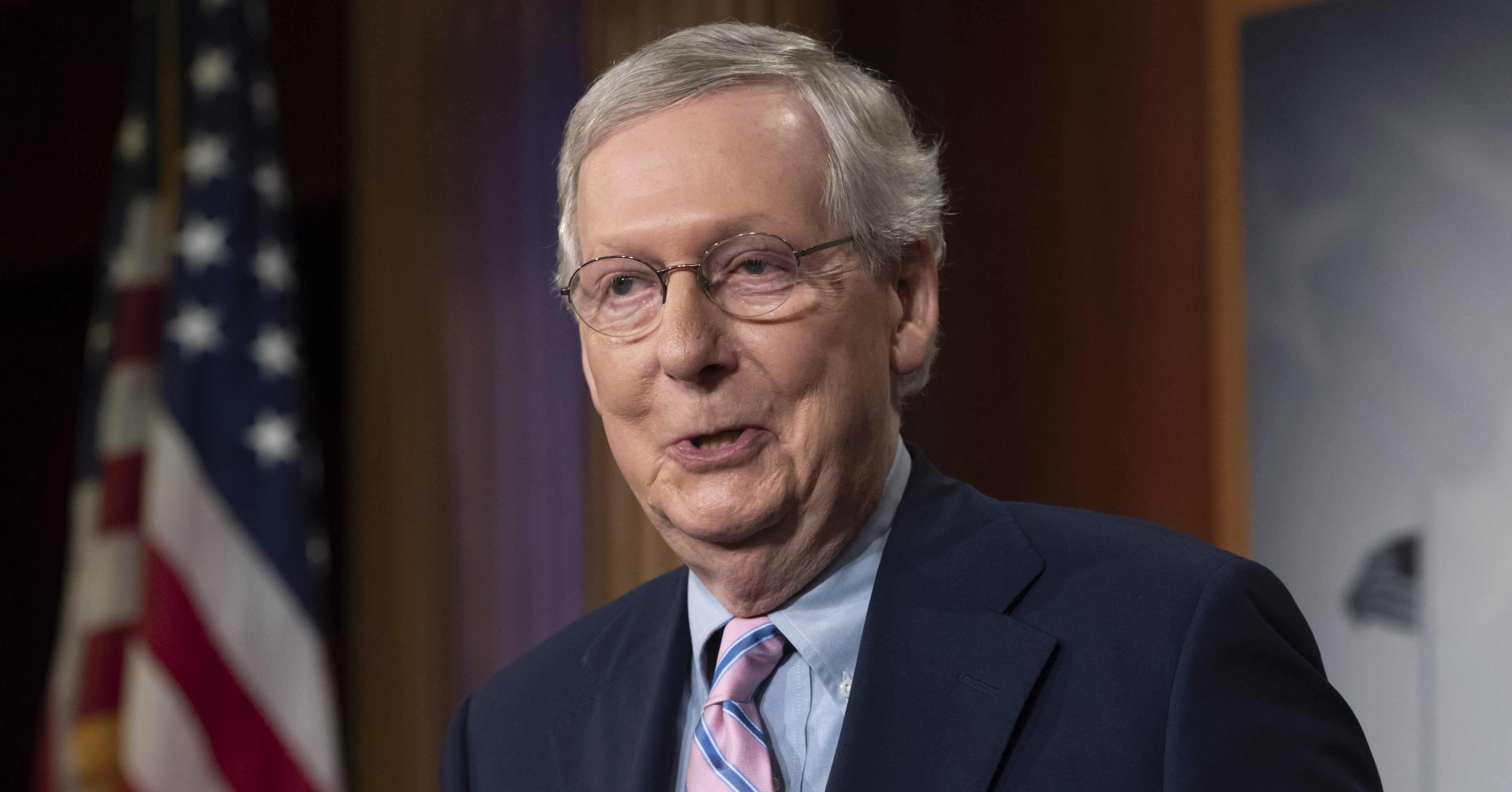 Senate Majority Leader Mitch McConnell, R-Ky., speaks to reporters