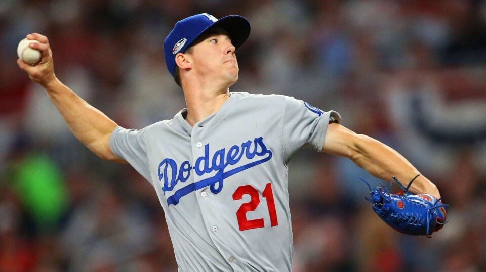 Dodgers Walker Buehler delivers during the first inning in Game 3 of National League Division Series against the Atlanta Braves.