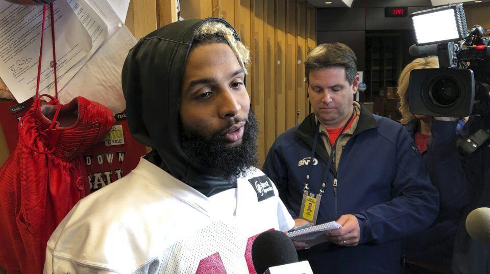 New York Giants wide receiver Odell Beckham Jr., speaks with reporters inside the team's locker room Friday.