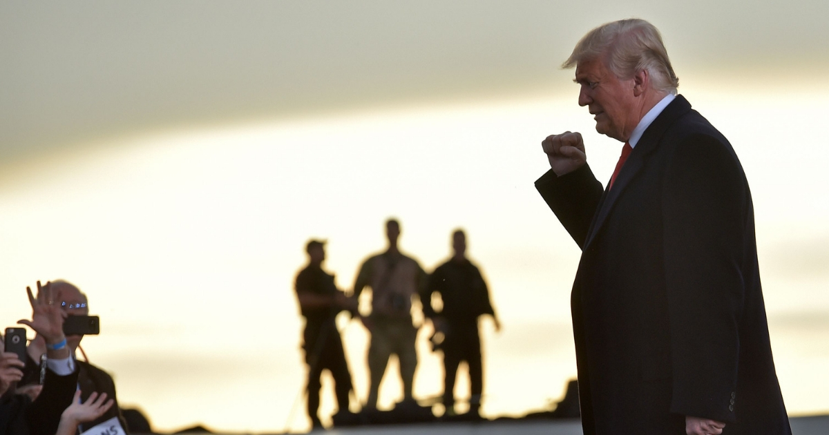President Donald Trump arrives to a 'Make America Great' rally in Missoula, Montana.