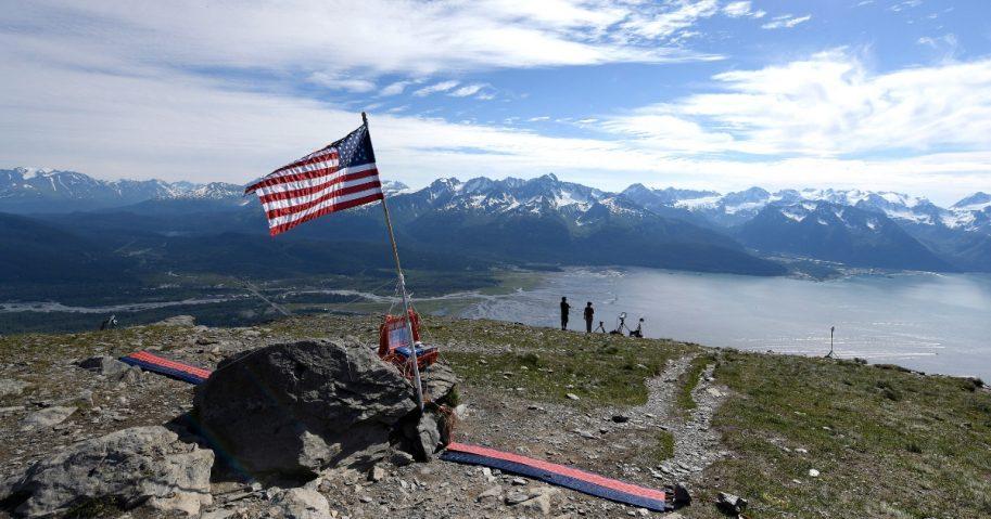 American flag on mountain in Seward, Alaska.
