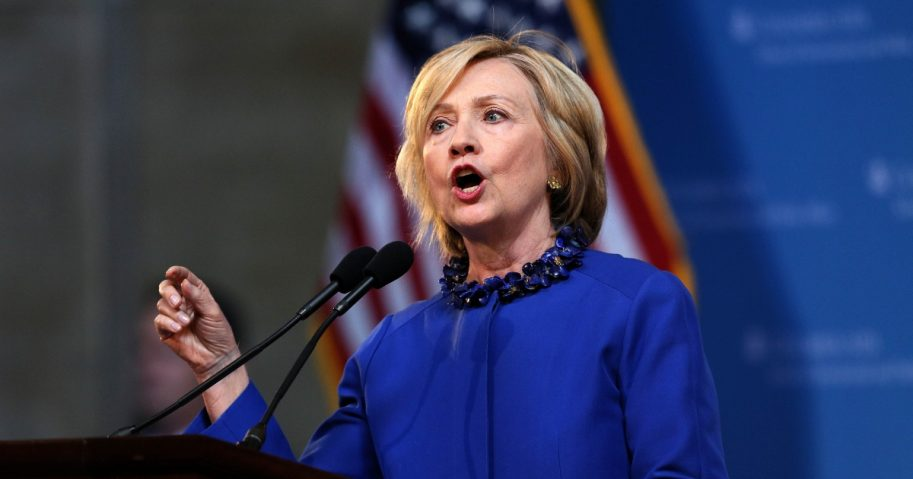 Former Secretary of State Hillary Rodham Clinton delivers a keynote address at 18th Annual David N. Dinkins Leadership Forum at Columbia University, New York.