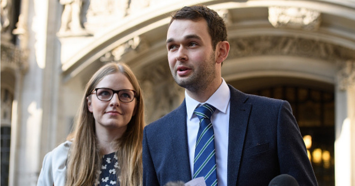 Bakery owners Amy and Daniel McArthur, who own 'Ashers' in Belfast, speak to the media outside the Supreme Court after winning their appeal.