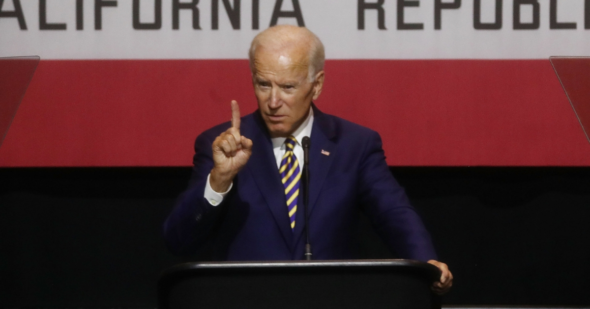 Former U.S. Vice President Joe Biden speaks at a mid-term elections rally on October 4, 2018 in Fullerton, California.