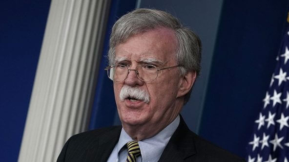 National Security Adviser John Bolton speaks during a White House news briefing at the James Brady Press Briefing Room of the White House.