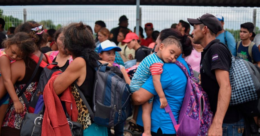 Honduran migrants taking part in a caravan heading to the U.S.
