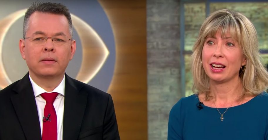 Pastor Brunson and his wife, Norine on CBS.