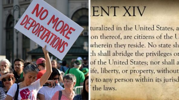 An iIllegal alien advocate protests, left; a portion of the 14th Amendment, right.