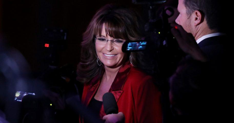 Sarah Palin talks to reporters. (