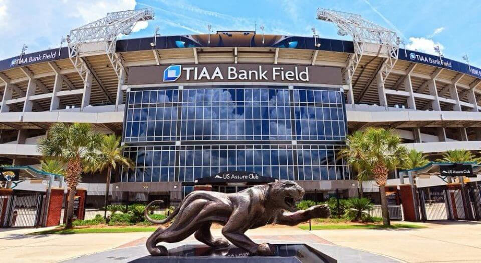 Outside TIAA Bank Field in Jacksonville, Florida