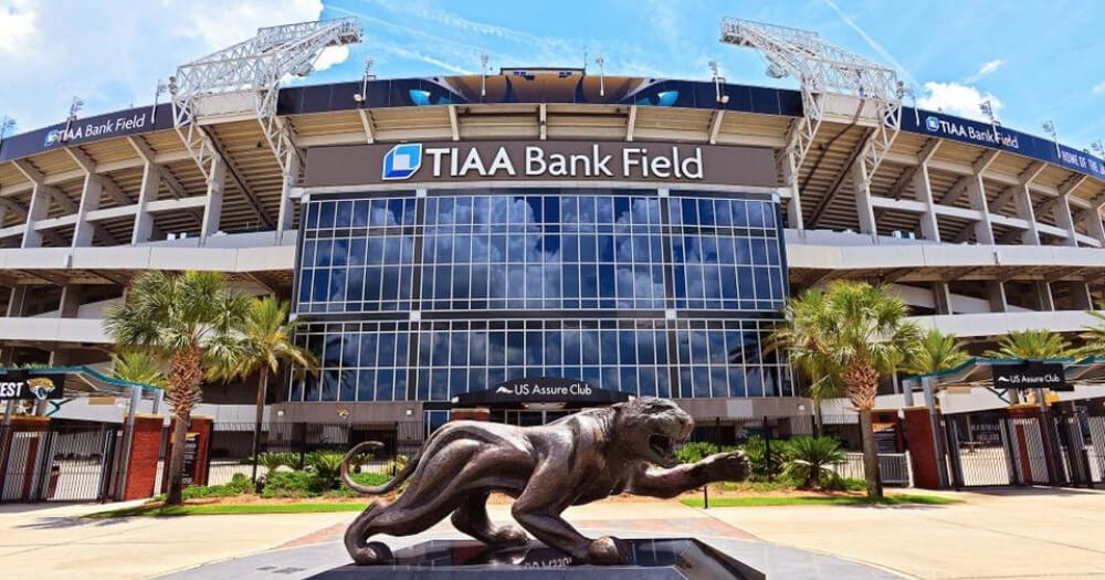 Outside TIAA Bank Field in Jacksonville, Florida