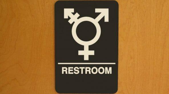 A sign on a transgender bathroom