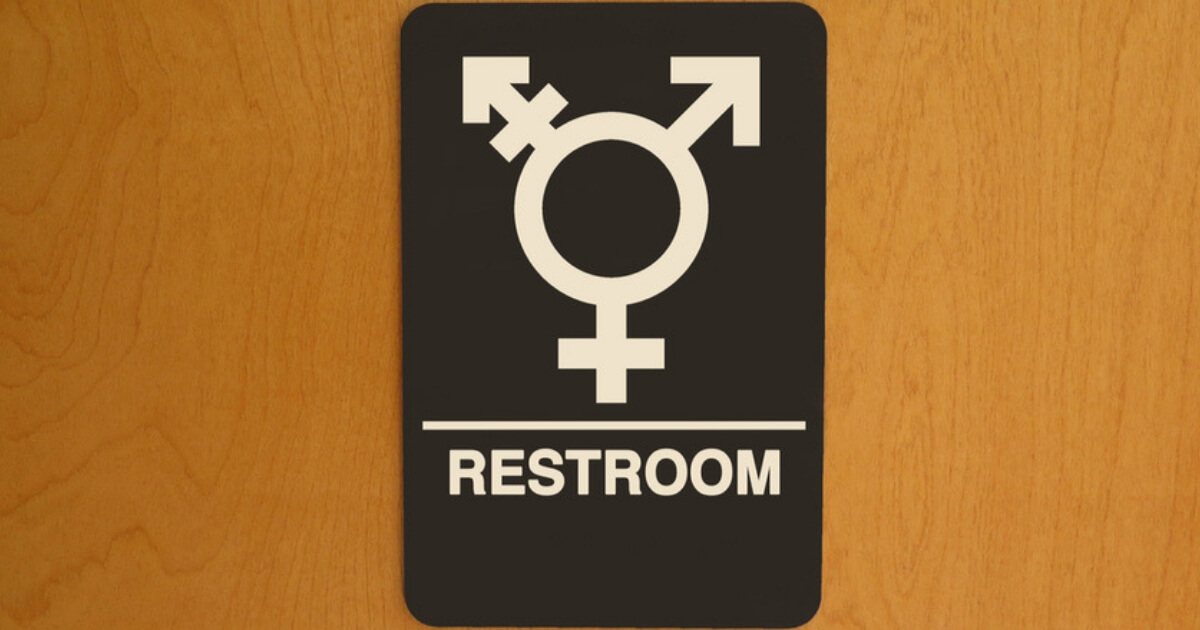 A sign on a transgender bathroom
